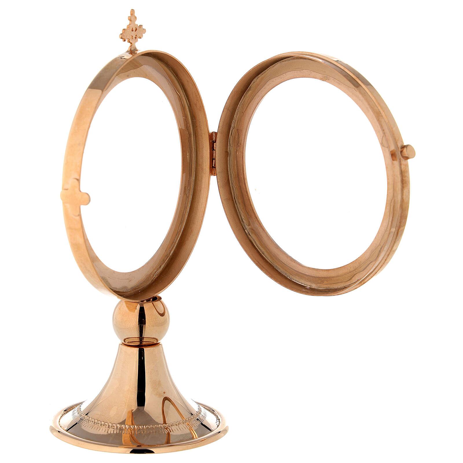Teca ostensorio diam 8 cm ottone dorato Monaci Betlemme 4