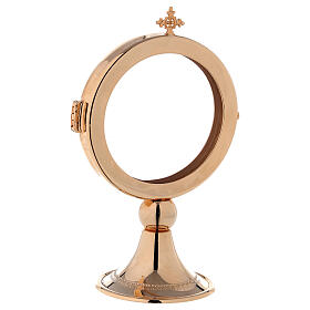 Teca ostensorio diam 8 cm ottone dorato Monaci Betlemme s2