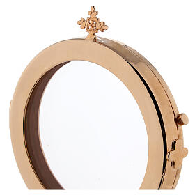 Teca ostensorio diam 8 cm ottone dorato Monaci Betlemme s3