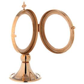 Teca ostensorio diam 8 cm ottone dorato Monaci Betlemme s5