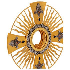 Ostensoir gotique rayons croix grecque noeud bleu laiton doré s2