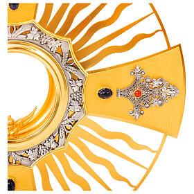 Ostensoir gotique rayons croix grecque noeud bleu laiton doré s4