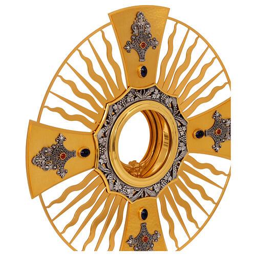 Ostensoir gotique rayons croix grecque noeud bleu laiton doré 2