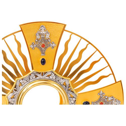 Ostensoir gotique rayons croix grecque noeud bleu laiton doré 3