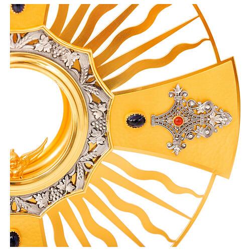 Ostensoir gotique rayons croix grecque noeud bleu laiton doré 4