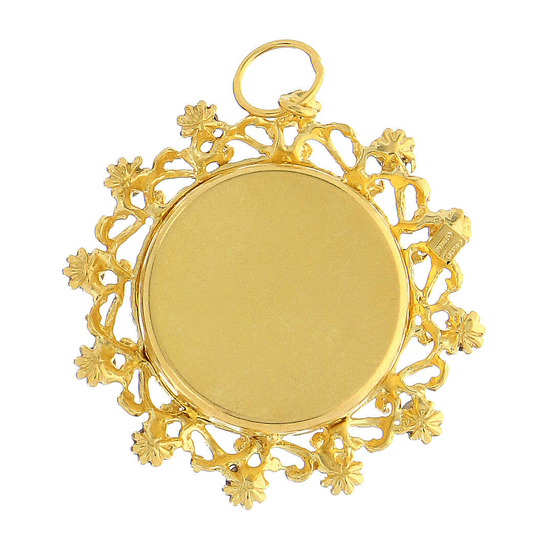 Reliquaire argent 800 doré cristaux rouges rond 3,5 cm 4