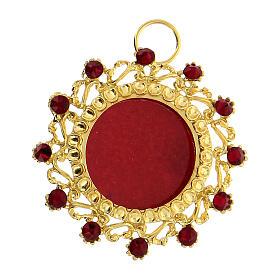 Reliquaire argent 800 doré cristaux rouges rond 3,5 cm s1