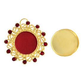Reliquaire argent 800 doré cristaux rouges rond 3,5 cm s2