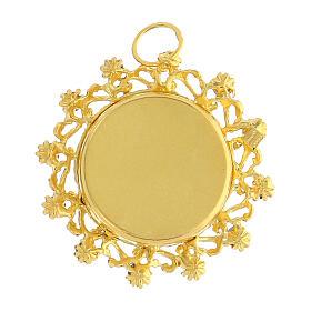 Reliquaire argent 800 doré cristaux rouges rond 3,5 cm s3