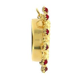 Reliquaire argent 800 doré cristaux rouges rond 3,5 cm s4