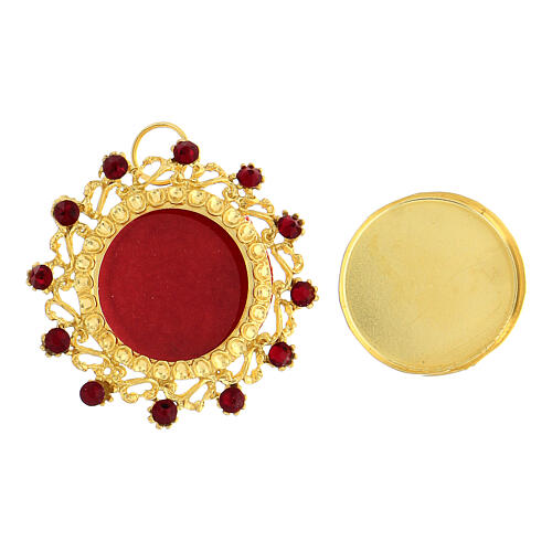 Reliquaire argent 800 doré cristaux rouges rond 3,5 cm 2
