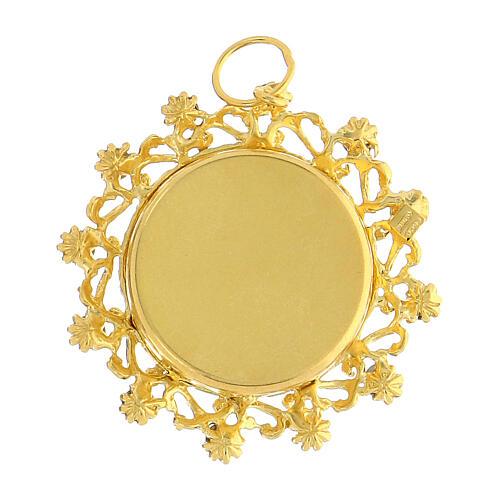Reliquaire argent 800 doré cristaux rouges rond 3,5 cm 3