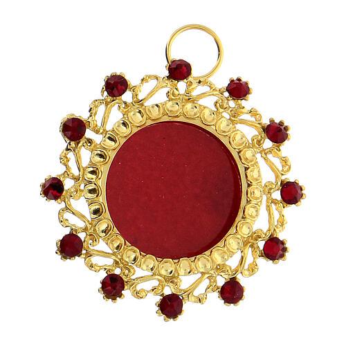 Teca argento 800 dorato cristalli rossi rotonda 3,5 cm 1