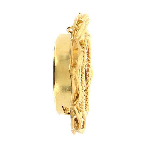 Ostensorio plata 800 dorado forra roja relicario 2 cm 3