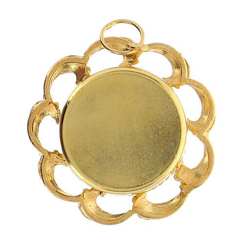 Ostensorio plata 800 dorado forra roja relicario 2 cm 4