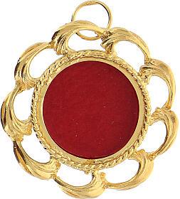 Reliquiario argento 800 dorato fodera rossa teca 2 cm s1
