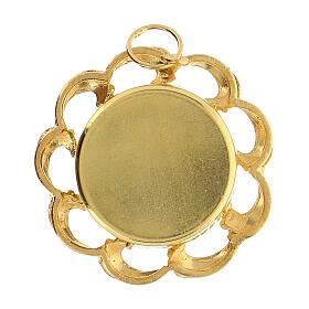 Reliquiario argento 800 dorato fodera rossa teca 2 cm s4