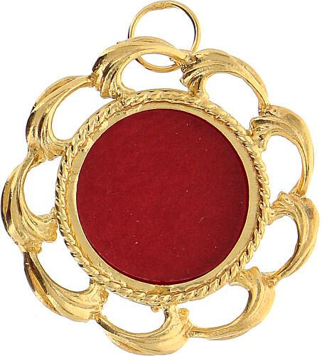 Reliquiario argento 800 dorato fodera rossa teca 2 cm 1