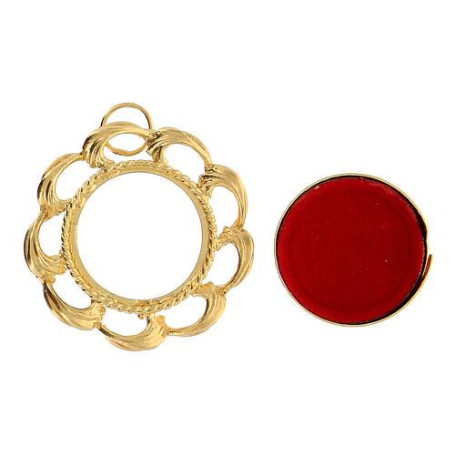 Reliquiario argento 800 dorato fodera rossa teca 2 cm 2