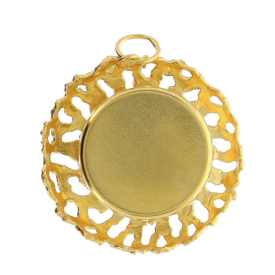 Reliquaire cadre ajouré argent 800 doré 2 cm 4