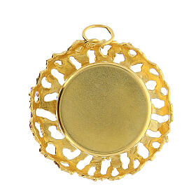 Reliquaire cadre ajouré argent 800 doré 2 cm s4