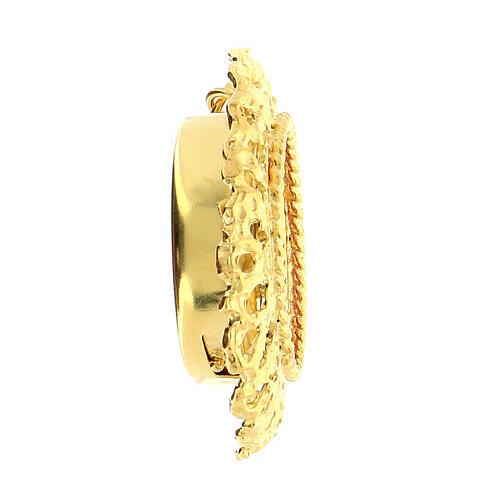 Reliquaire cadre ajouré argent 800 doré 2 cm 3
