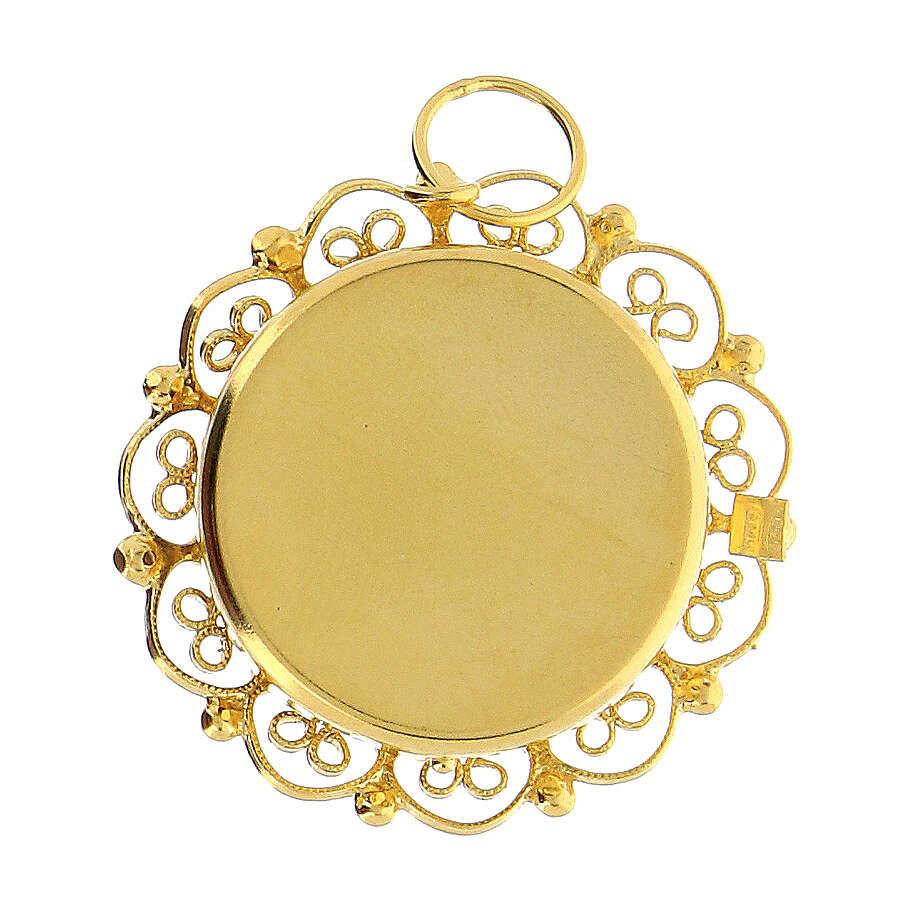 Reliquiario 2 cm argento 800 dorato filigrana 4