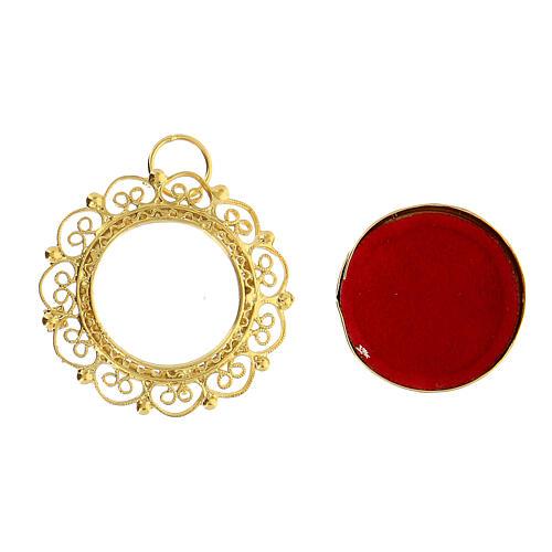 Reliquiario 2 cm argento 800 dorato filigrana 2