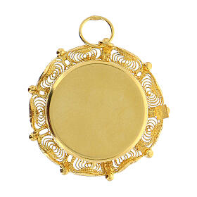 Ostensorio filigrana plata 800 dorada relicario 2 cm s4