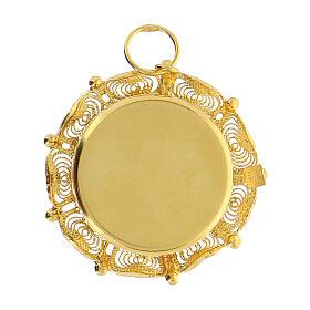 Reliquiario filigrana argento 800 dorato teca 2 cm s4
