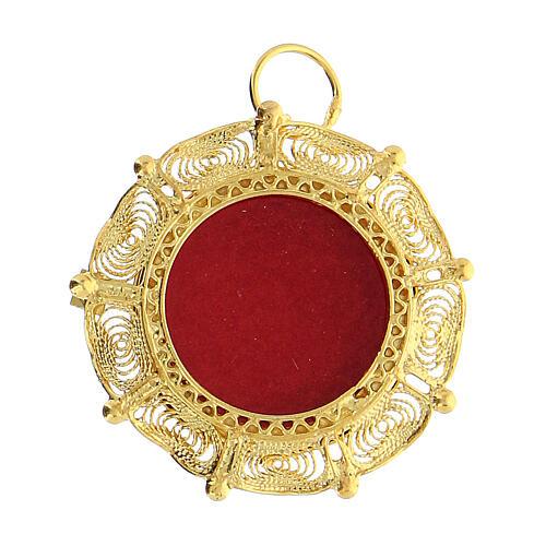 Reliquiario filigrana argento 800 dorato teca 2 cm 1