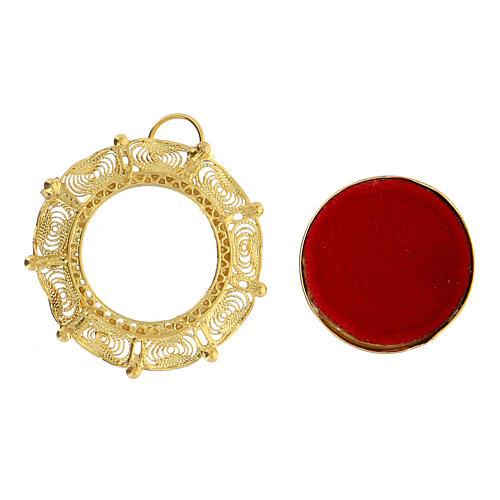Reliquiario filigrana argento 800 dorato teca 2 cm 2