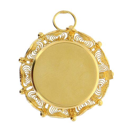 Reliquiario filigrana argento 800 dorato teca 2 cm 4
