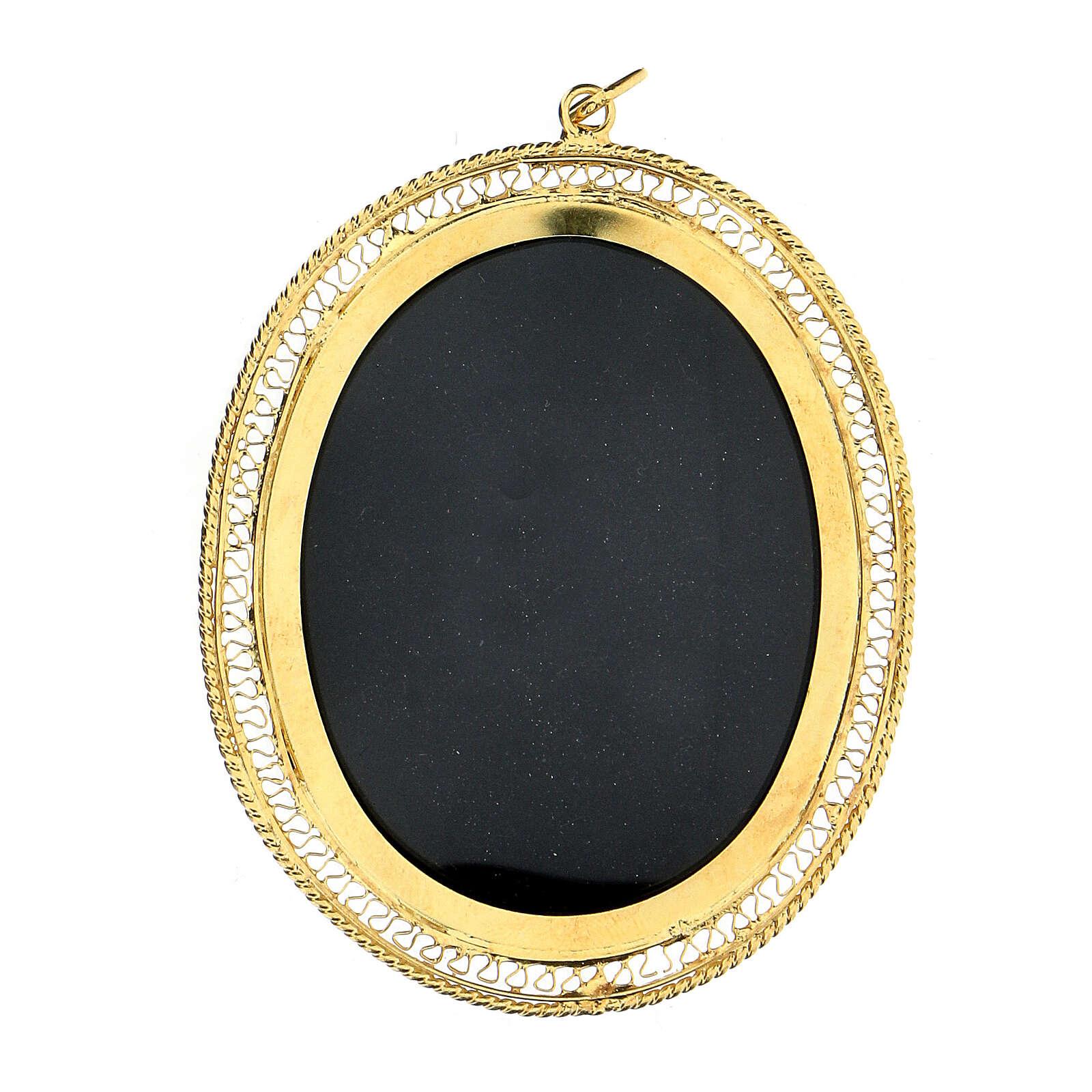 Relicario para reliquias ovalado filigrana plata 800 dorada 6x5 cm 4