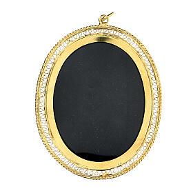 Relicario para reliquias ovalado filigrana plata 800 dorada 6x5 cm s1
