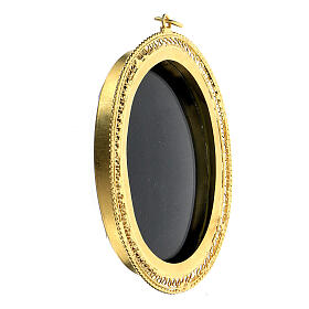 Teca porta reliquie ovale filigrana argento 800 dorata 6x5 cm s2