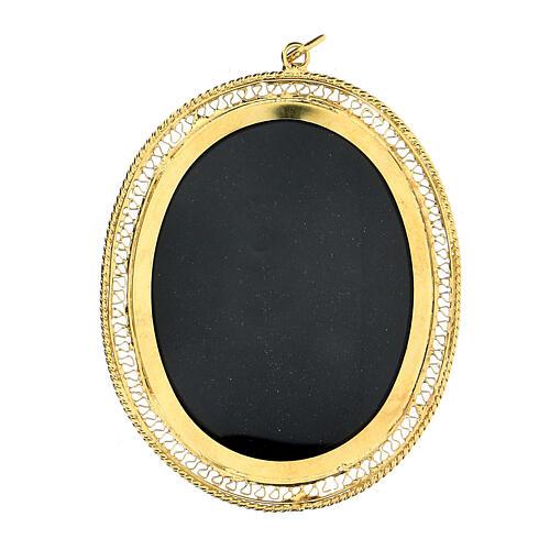 Teca porta reliquie ovale filigrana argento 800 dorata 6x5 cm 1