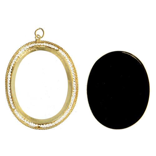 Teca porta reliquie ovale filigrana argento 800 dorata 6x5 cm 3