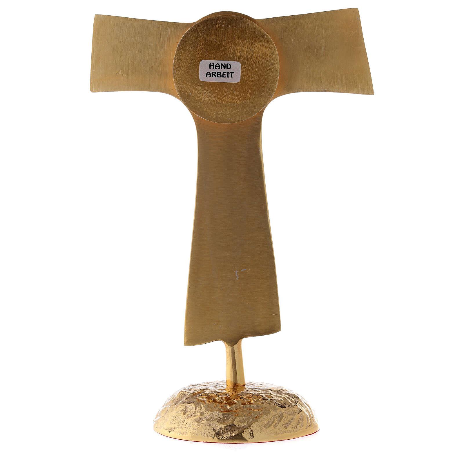 Reliquiario Tau teca rotonda ottone dorato 22 cm 4