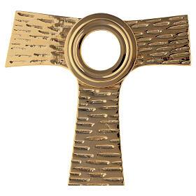 Reliquiario Tau teca rotonda ottone dorato 22 cm s2