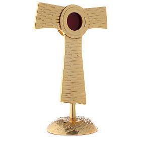 Reliquiario Tau teca rotonda ottone dorato 22 cm s4