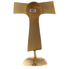 Reliquiario Tau teca rotonda ottone dorato 22 cm s5