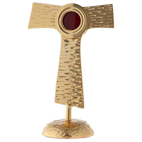 Reliquiario Tau teca rotonda ottone dorato 22 cm 1