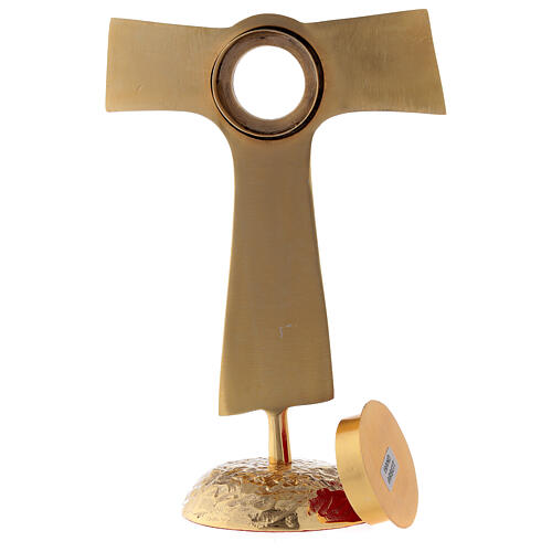 Reliquiario Tau teca rotonda ottone dorato 22 cm 6
