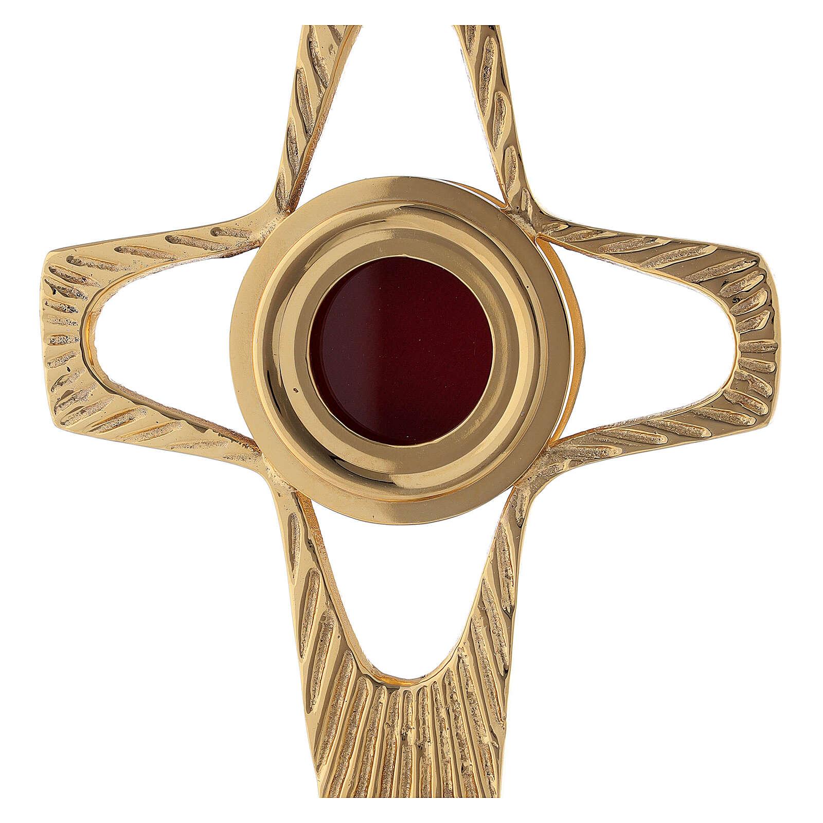 Reliquaire croix ajourée lunule ronde laiton doré 20 cm 4