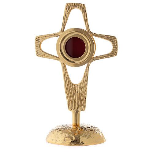 Reliquaire croix ajourée lunule ronde laiton doré 20 cm 1