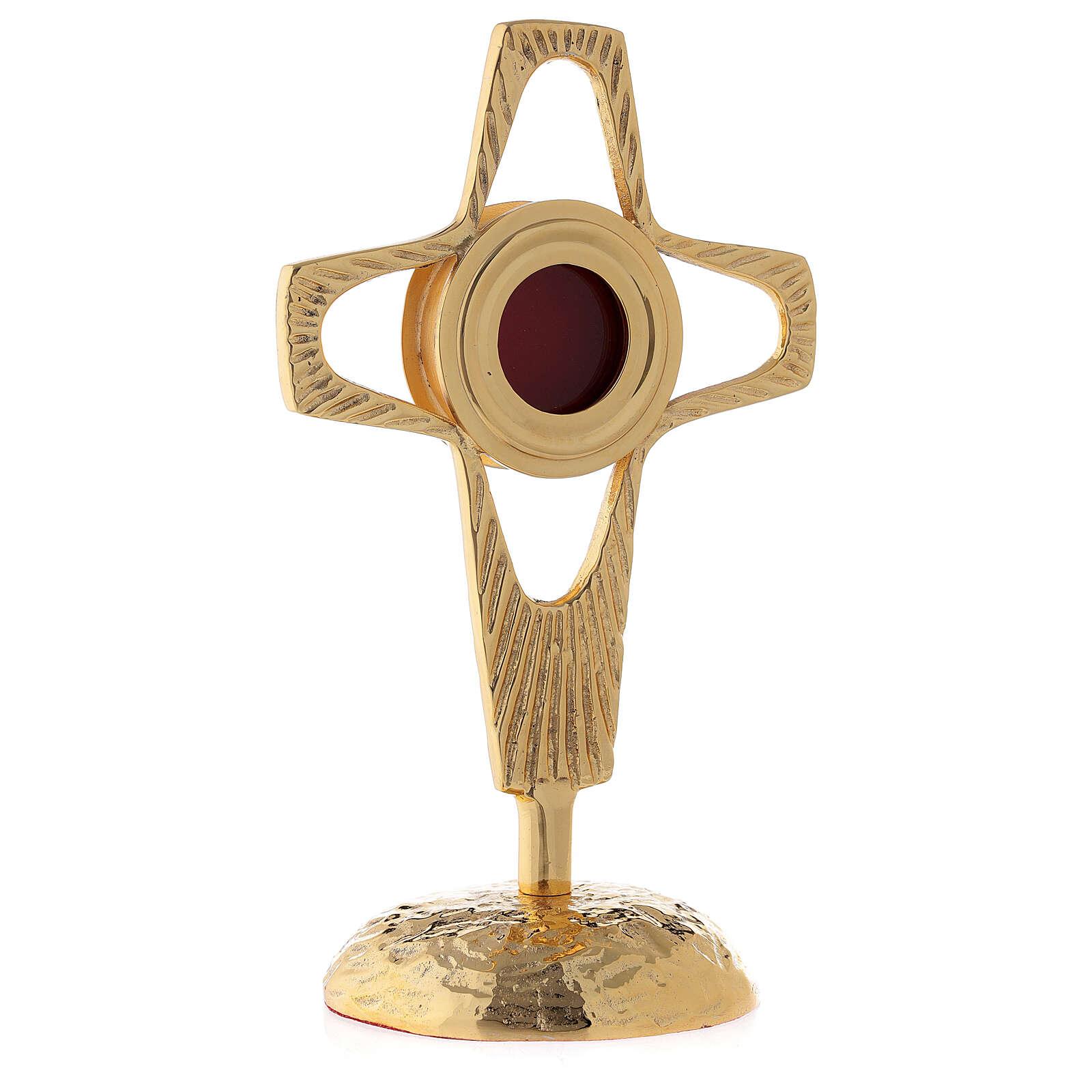 Reliquiario croce traforata teca tonda ottone dorato 20 cm 4