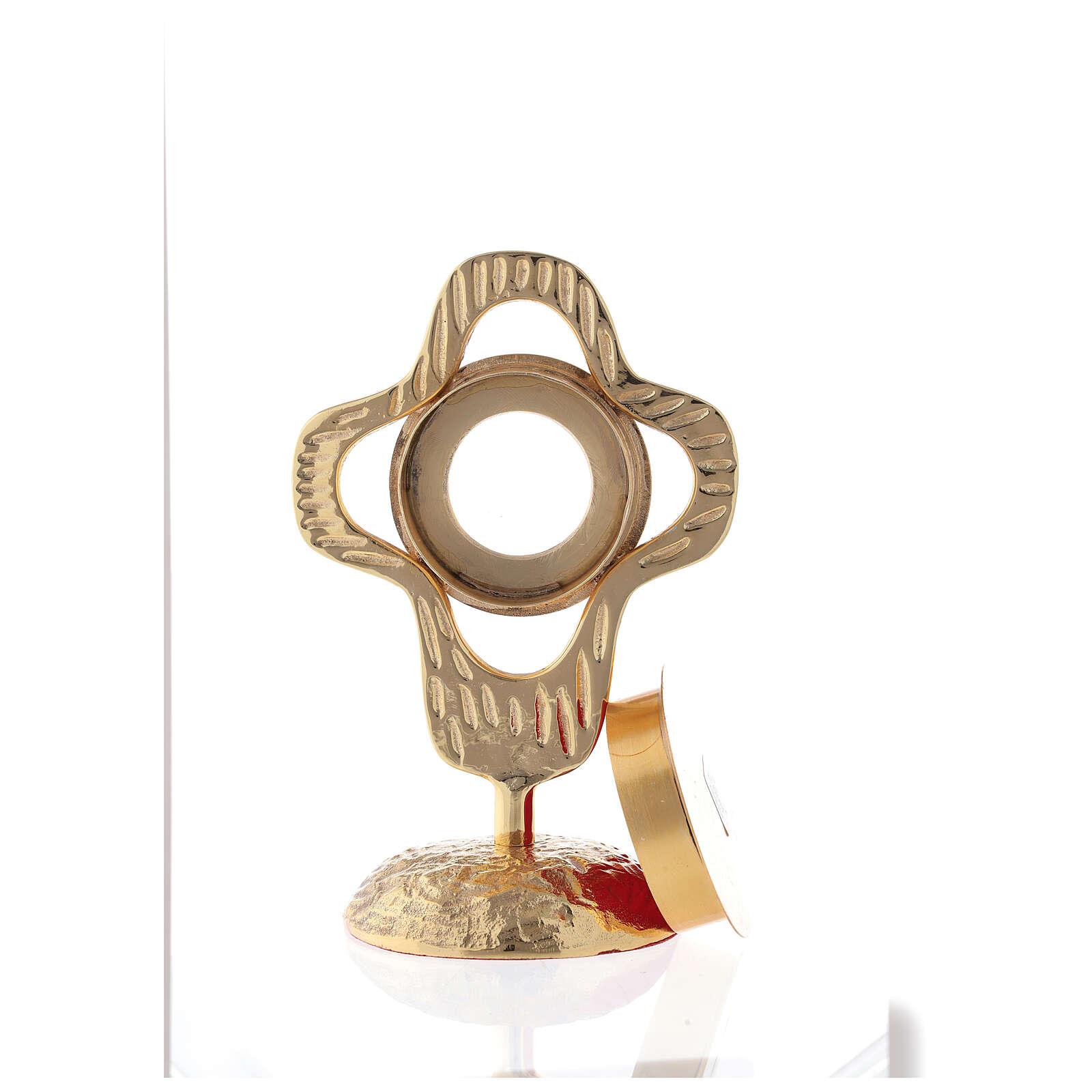 Reliquaire laiton doré croix arrondie ajourée lunule ronde 18 cm 4
