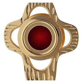 Reliquaire laiton doré croix arrondie ajourée lunule ronde 18 cm s2
