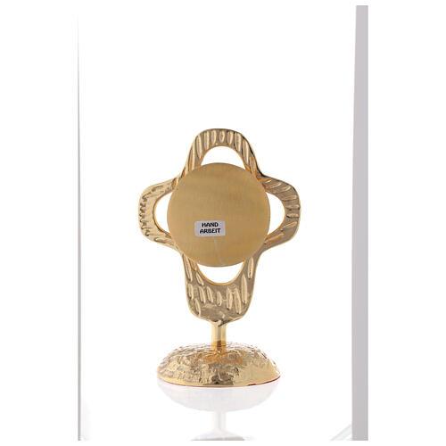Reliquaire laiton doré croix arrondie ajourée lunule ronde 18 cm 5